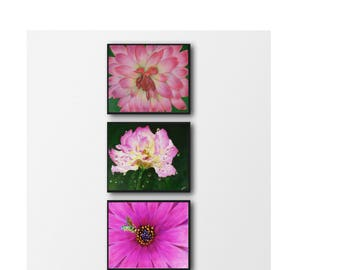 Set of 3 floral print - Pink flower print - Flowers wall print - Flowers printable - Office decor gift - Instant printable wall art - Flower