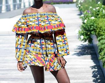 African print mini off the shoulder frill dress