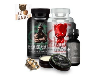 Ultimate Beard Growth Kit   No More Patches! -Grow Gift Set Includes: Balm, Oil, Mini Comb/Mustache Comb