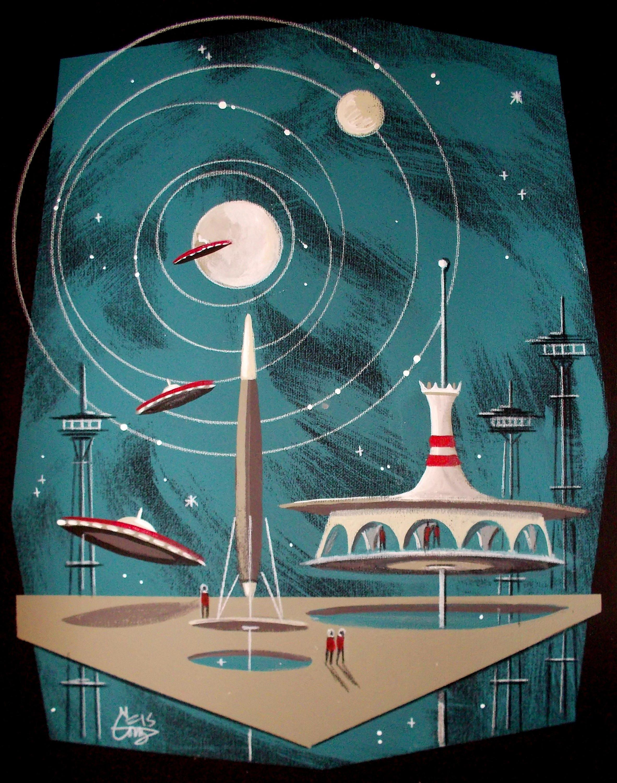 El gato gomez outer space futuristic retro art print for Vintage outer space decor