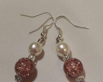 Pink glass n pearl effect