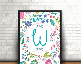 Floral Girls Initial Print, Personalised, Bedroom, Nursery, Home Print, A4, 8x10inch or A5, Quality Paper