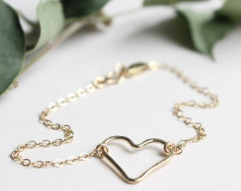 Gold Heart Bracelet • Gold Heart Toddler Bracelet • Gold Heart Chain Bracelet • Gold Heart Stackable Toddler Bracelet