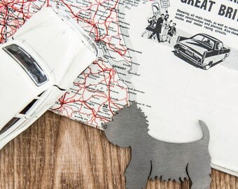 Westie West Highland Terrier Tail Tags Stainless Steel Car Badge