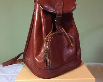 Brown leather backpack purse made in Italy zippered adjustable straps small