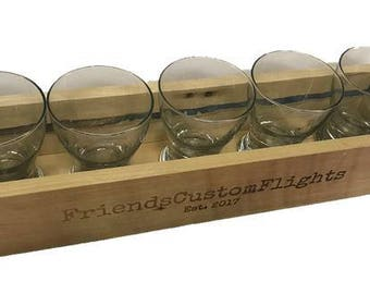 Custom Beer Flight Box w/Glasses