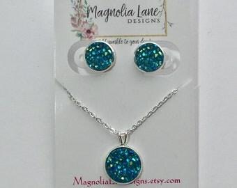 Aqua Druzy Earrings and Necklace Set