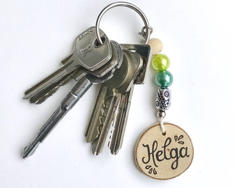 Key ring name big blue-keychain-lanyard-bag hanger-Keychain with text-really miek