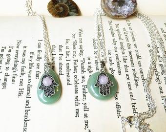 Best Friend Gift Necklace, Hamsa Hand Necklaces, Hamsa Necklace Silver, Green Adventurine Necklace, Best Friend Necklaces Matching Necklaces