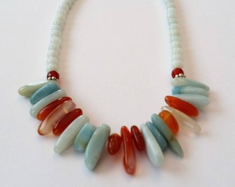 Blue Amazonite and Orange Red Carnellian Necklace