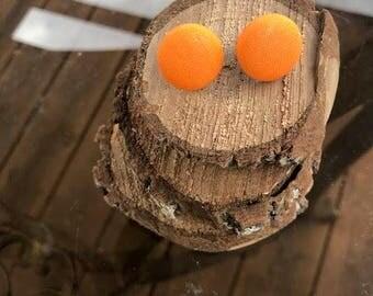 Fabric Button Earrings - Orange