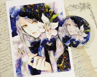 Button Badge and post card set, Buttons pins ,gothic girl, watercolor, dolly, anime manga, illustration, traditional art, rose, lily, flower