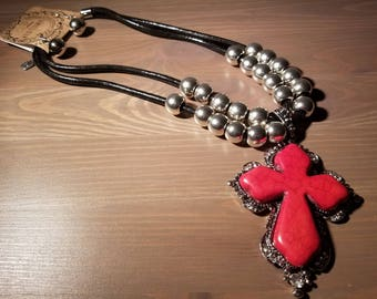 Red Turquoise Cross Necklace w/ Earrings