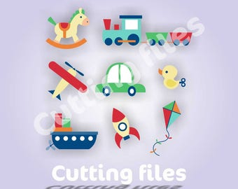 Toys Vector Art SVG File - Car - Ship - Plaine - Duck - Rocket - Traine - Horse Kite- Toy Clipart - SVG Files for Silhouette Cameo or Cricut