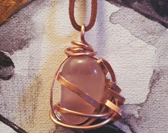 Wire Wrapped Rose Quartz + Copper Pendant