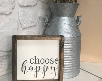 Choose Happy. Wood Sign. Wood Framed Sign. Wood Frame. Rustic. Farmhouse. Wall Decor. Home Decor.