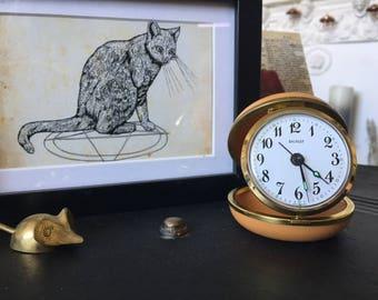 vintage salvest travel alarm clock | orange case, travel clock, alarm clock, unique gift, vintage alarm clock, vintage accessory,