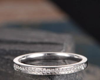 Channel Set White Gold Wedding Band Minimalist Ring Diamond Stack Matching Delicate Ring Women Promise Bridal Anniversary Gift Half Eternity