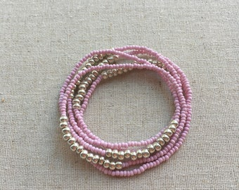 Seed Bead Stretch Layering Bracelet- Bubble Gum Pink