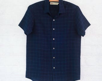 The Classic Shirt in Indigo Ckecked Shibori Organic Cotton