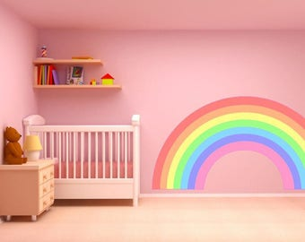 PASTEL RAINBOW Wall Sticker Decal Plain Childrenu0027s Bedroom Nursery Car Art  Vinyl Graphic Mural 2 Sizes Part 92