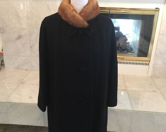 Vtg International Ladies Garment Workers Union Black Wool Coat W/Mink Collar