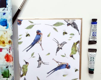 Swallows Woodpecker and Bee Blank Greeting Card -  'Birds and the Bees' pattern