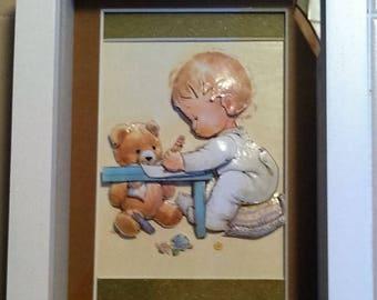 Handcut 3D Paper Art. Baby Shower, Baby's Room, Baptism