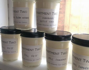 Fall scented hand-poured natural soy candles