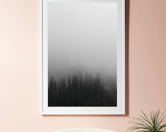 Forest Print, Trees, Fog, Photography, Instant Download, Woods, Wall Art Print, Nature Prints, Landscape, Printable decor, Outdoors print