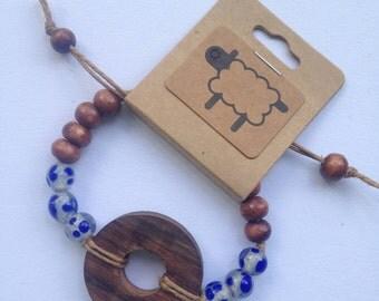 Bracelet | Recycled Glass | Twine | Wood