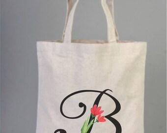 Bridesmaid Tote Bag, Monogram Tote Bag, Bridesmaid Wedding Welcome Tote Bag, Floral Wedding Tote Bag, Bridal Party Gift, Letter Bag