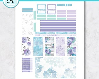 Passion Planner Stickers * Compact Sized Passion Planner * Printable Planner Stickers - LAVENDER FLOWERS - Digital Download