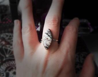 Porcelain jasper ring / Gemstone ring / Copper ring / Mixed metal ring / Sterling silver band / Stone ring / Metalsmith ring / Size 8 ring