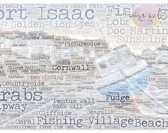 Port Isaac, Cornwall, Doc Martin, Beach, Seaside, Nautical, Word Art, Instant Download, Print, JPEG, Download