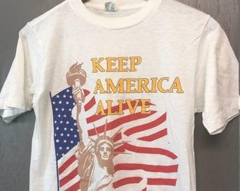S * Vintage 80s Keep America Alive t shirt