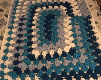 Knit Blanket: Blue on Blue
