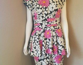 1980's Vintage Peplum Milanzo Dress Size 9/10