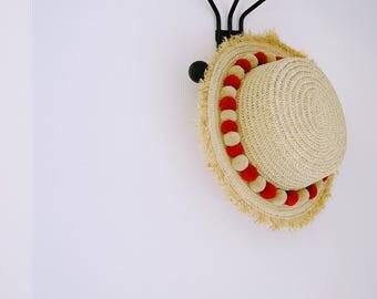Super Cute KIDS Straw Hat ( Pom Pom Detailed )