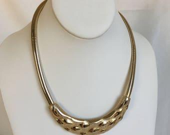 Omega Chain Necklace, Park Lane Necklace, Bib Necklace, Gold Tone, Textured, Vintage, 1970s