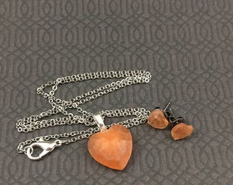 Orange Heart Necklace and Earring Resin Set