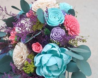 Blue and Pink Bouquet, Spring Wedding Bouquet, Bouquet with Eucalyptus, Sola Flower Bouquet, Sola Flowers, Natural Bouquet, Colorful Bouquet
