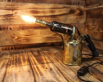 Steampunk Table Lamp made from early 20th Century Brass Blowtorch