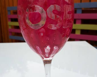 Hand marbled rose wine glass.