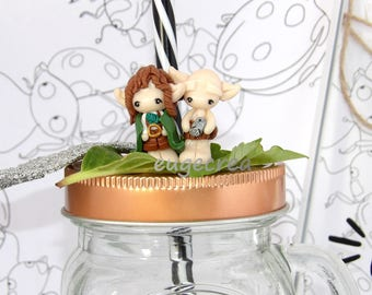 Frodo and Gollum polymer clay brooch