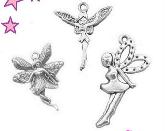 3 large fairies 39 and 29 mm silver metal charms