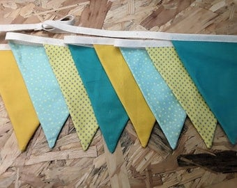Garland flags decoration kids room blue yellow green