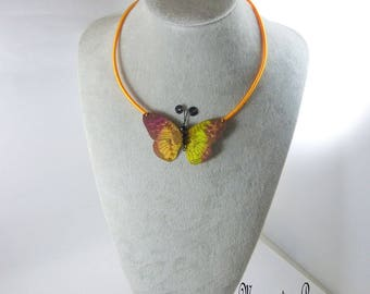 Butterfly fall silk necklace cord d yellow silk yarn ' gold