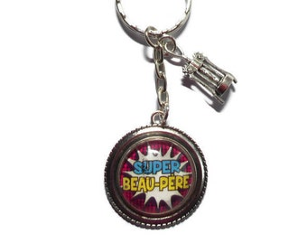"""Door keys/stepdad / """"Super father-in-law"""" / gift/birthday/thank you/party"""