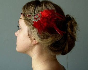 Tiara Crown Joyce feathered red gatsby party wedding tribal fusion